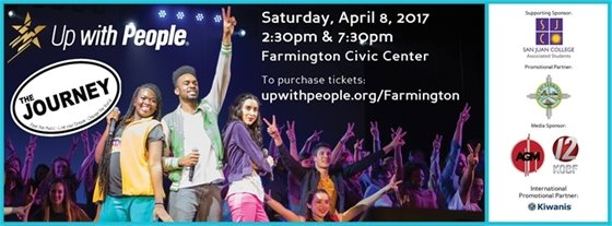 Up with People at the Farmington Civic Center April 8th at 2:30 and 7:30 p.m.