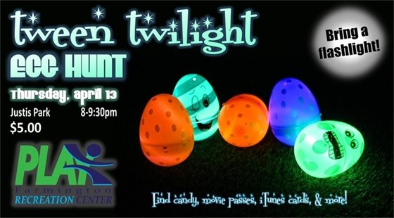 Tween Twilight Egg Hunt at Justis Park on Thursday, April 13 from 8:00 to 9:30 p.m. $5.00 online registration required. Bring a flashlight!