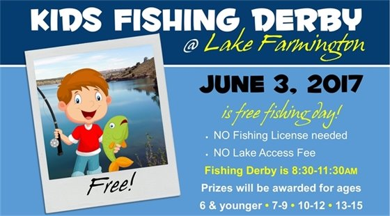 Kids Fishing Derby at Lake Farmington. FREE! June 3, 2017 is free fishing day! No fishing license needed and no lake access fee. Fishing derby is 8:30-11:30am. Prizes will be awarded for ages 6 & younger, 7-9, 10-12, 13-15.