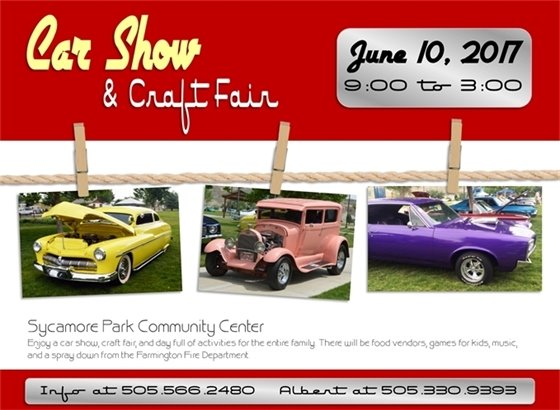 Car Show & Craft Fair at Sycamore Park Community Center. June 10 from 9-3. Enjoy a car show, craft fair, and day full of activities for the entire family. There will be food vendors, games for kids, music, and more.